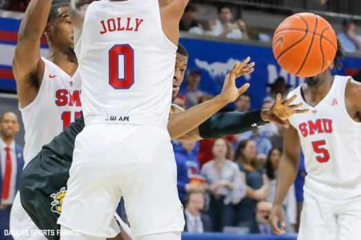 Wichita State forward Trey Wade (5) makes a pass during the American Athletic Conference college basketball game between the SMU Mustangs and the Wichita State Shockers on March 1, 2020 at Moody Coliseum in Dallas, Texas. (Photo by Joseph Barringhaus/Dallas Sports Fanatic)