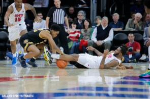 Wichita State guard Grant Sherfield (52) fights for a ball during the American Athletic Conference college basketball game between the SMU Mustangs and the Wichita State Shockers on March 1, 2020 at Moody Coliseum in Dallas, Texas. (Photo by Joseph Barringhaus/Dallas Sports Fanatic)