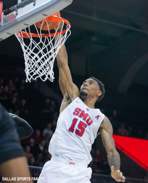 SMU forward Isiaha Mike dunks during the second half of the game against Northwestern State on December 3, 2019 at Moody Coliseum in Dallas, Tx. (Photo by Joseph Barringhaus/Dallas Sports Fanatics)