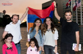 The Armenian Genocide Centennial Committee sponsored a Candlelight Vigil in front of the Dallas City Hall on Friday April 24, 2015. The event drew about 400 attendees on one of the stormiest afternoons Dallas had ever seen.