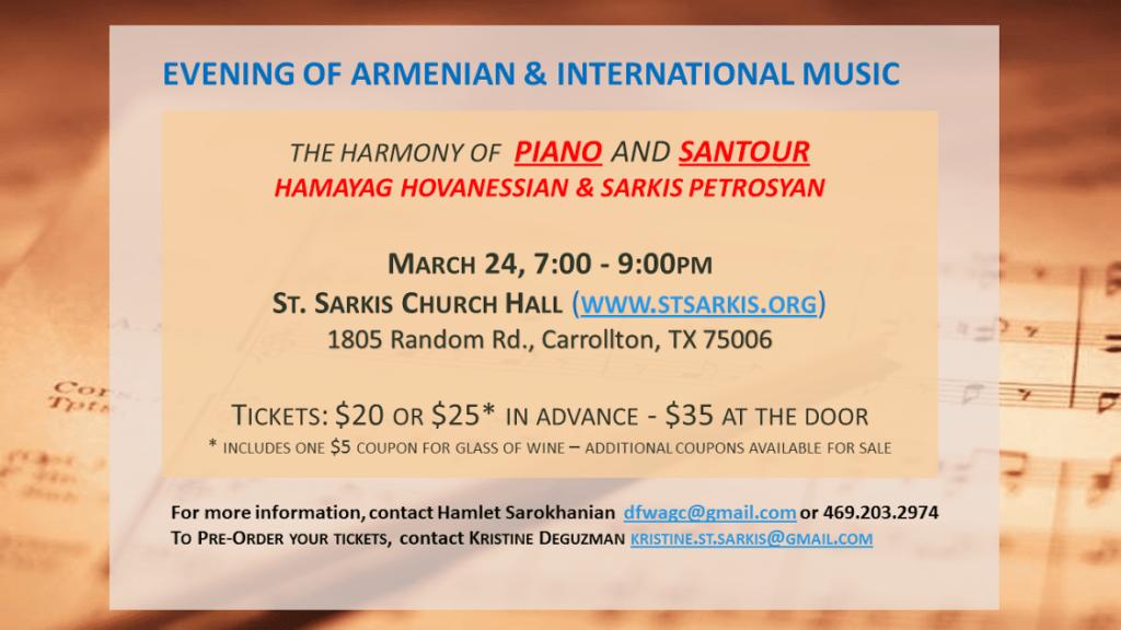 The Harmony of Piano and Santour by Sarkis Petrosian and Hamayag Hovanessian Dallas