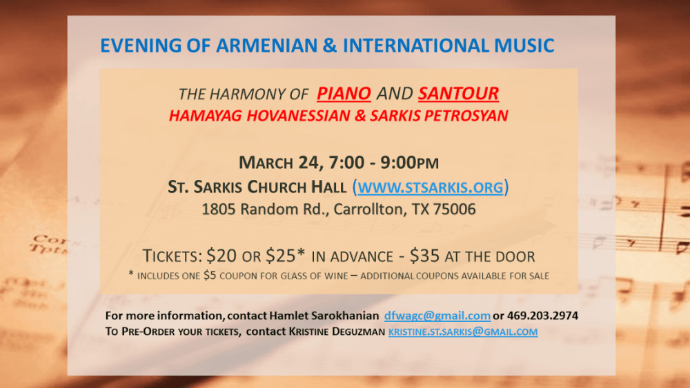 The Harmony of Piano and Santour by Sarkis Petrosian and Hamayag Hovanessian Dallas