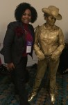 Dallas SWE Executive VP Cherrie Fisher and one of the dancing entertainers at Celebrate SWE