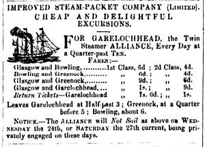 Alliance Garelochhead June 22, 1857