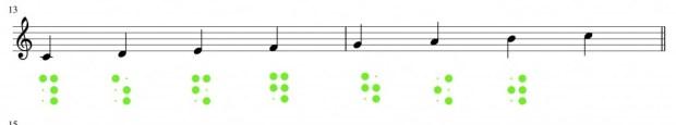 Musik: Viertelnoten in Braille
