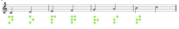 Musik: halbe Noten in Braille