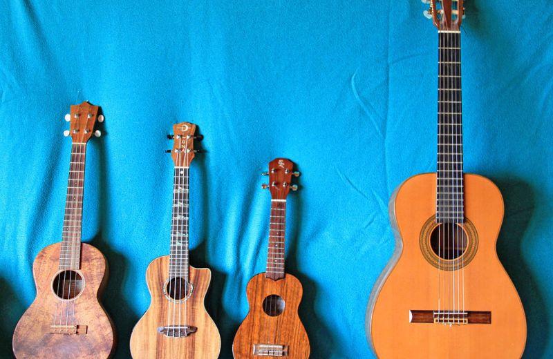 Von links nach rechts: Tenor-, Konzert-, Sopran-Ukulele (Hersteller: Martin, Luna, Baton Rouge), ganz rechts zum Vergleich eine Konzertgitarre (Hersteller: Roland Oetter)