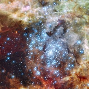 Hubble watches star clusters on a collision course.