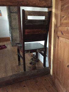 kleines Pflänzchen im Tontopf; darüber steht schützend ein Stuhl