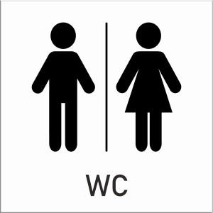 Skylt, toalett, dam och herr, vit