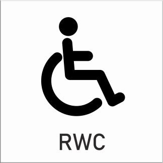 Skylt, RWC, toalett, vit