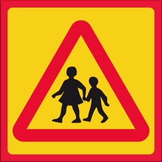 Skylt, kör sakta, lekande barn, standard
