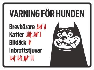 Skylt, varning för hunden
