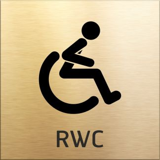 Skylt, RWC Toalett, guld, piktogram