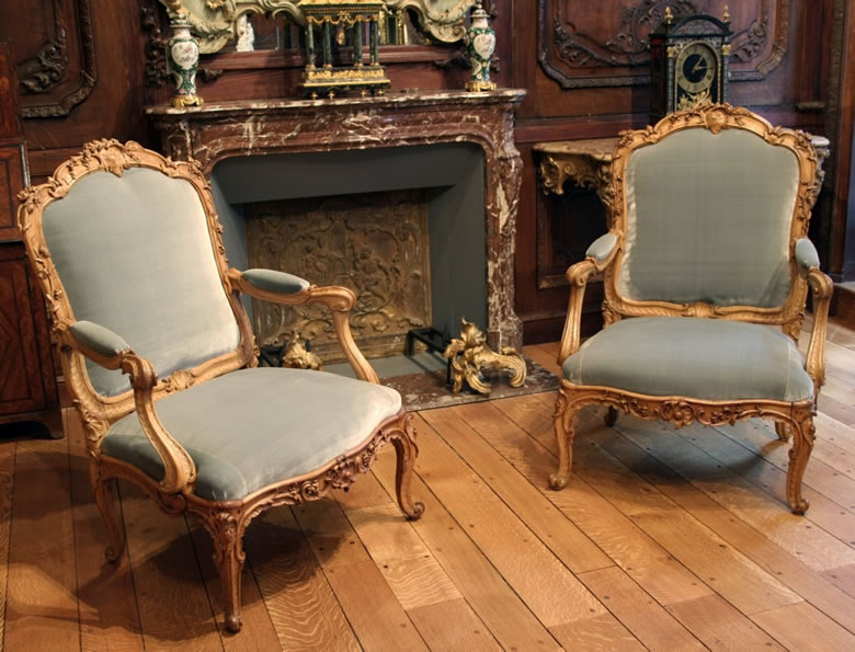 Pair Louis XV fauteuils by Louis Cresson