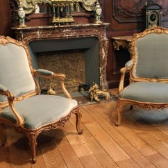 Floral Arm Chair Girls Bean Bag Pair Louis Xv Fauteuils By Cresson