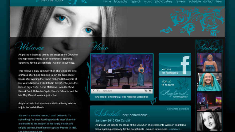 WordPress website designed and built for Soprano Singer, Angharad Rees.