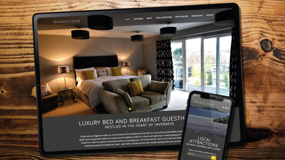 WordPress web design for guesthouse, Inverness