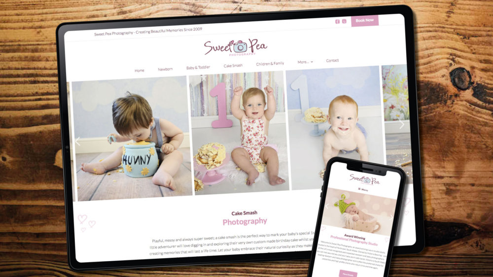 Baby photographer web design in Bridgend
