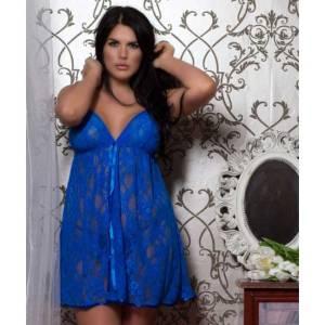 Plus size ελαστικό δαντελωτό babydoll σε μπλε ρουά χρώμα
