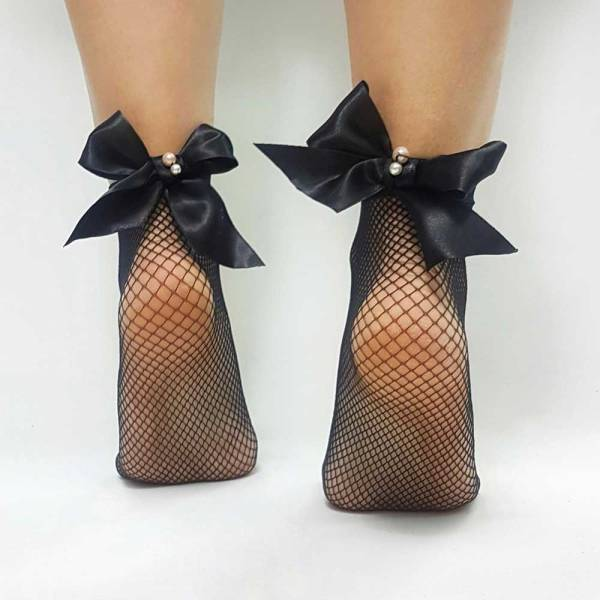 Διχτυωτές κάλτσες με φιόγκο και πέρλες