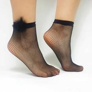 Κάλτσα διχτυωτή με φούντες
