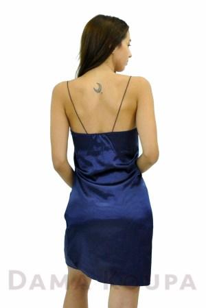 Μπλε νεγκλιζέ με δαντέλα Σατέν νυχτικό με δανδέλα και λεπτή τιράντα 4eff8159056