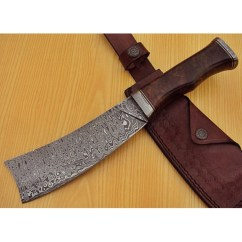 Best Damascus Kitchen Knives Outdoor With Freestanding Grill Chopper Knife Custom Handmade Steel Walnut Wood Handle