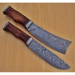 Damascus Kitchen Knives Commercial Sink Drain Parts Lot Of 2 Pcs Knife Custom Handmade Steel Chef S With Walnut