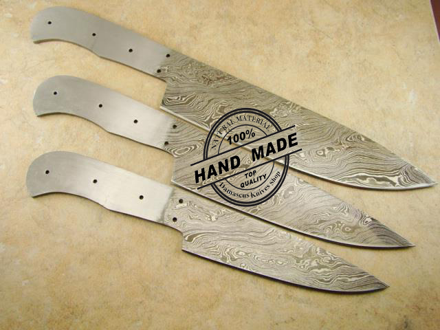 professional kitchen knives living spaces tables lot of 3 pcs chef s knife blank blade custom with stainless steel handle damascus 1420