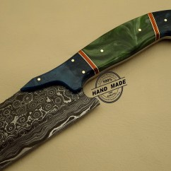 Damascus Steel Kitchen Knife Two Person Table Custom Handmade