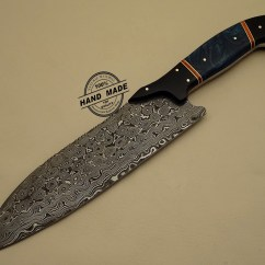 Best Damascus Kitchen Knives Hardwood Floor Knife Custom Handmade Steel Chef S With Leather Sheaths 1201