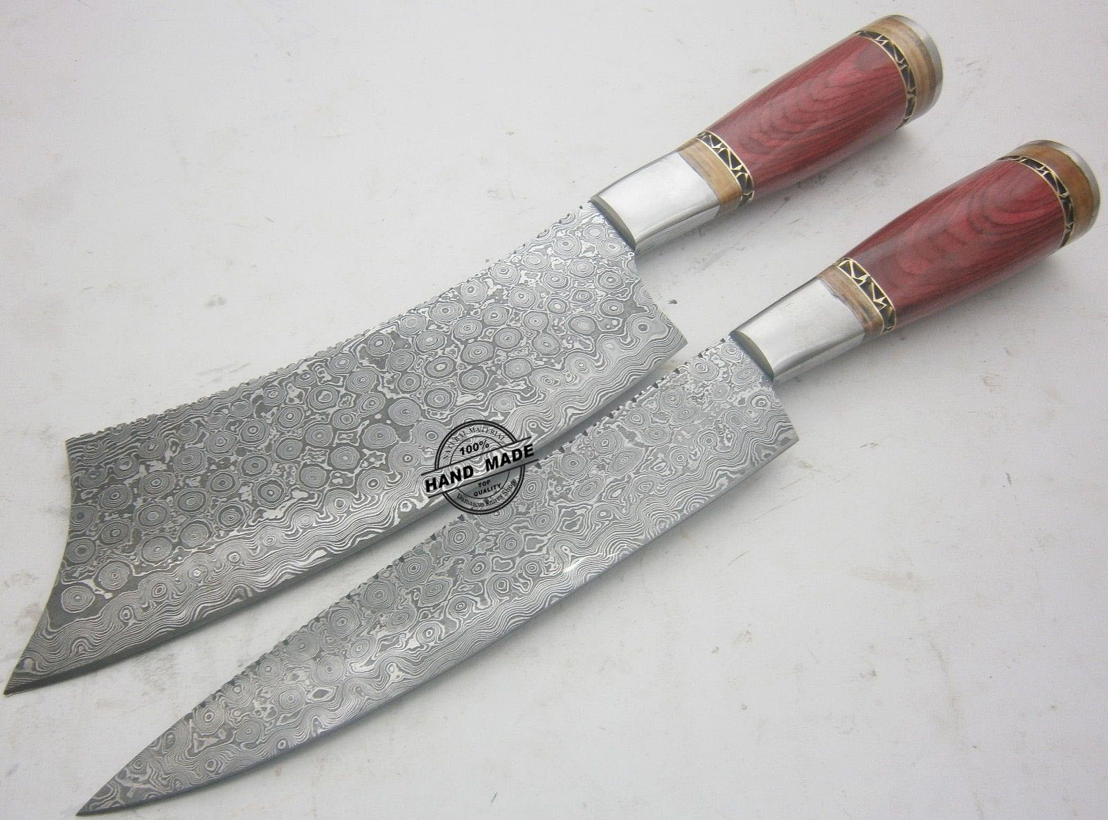 damascus steel kitchen knife round marble top table lot of 2 pcs custom handmade