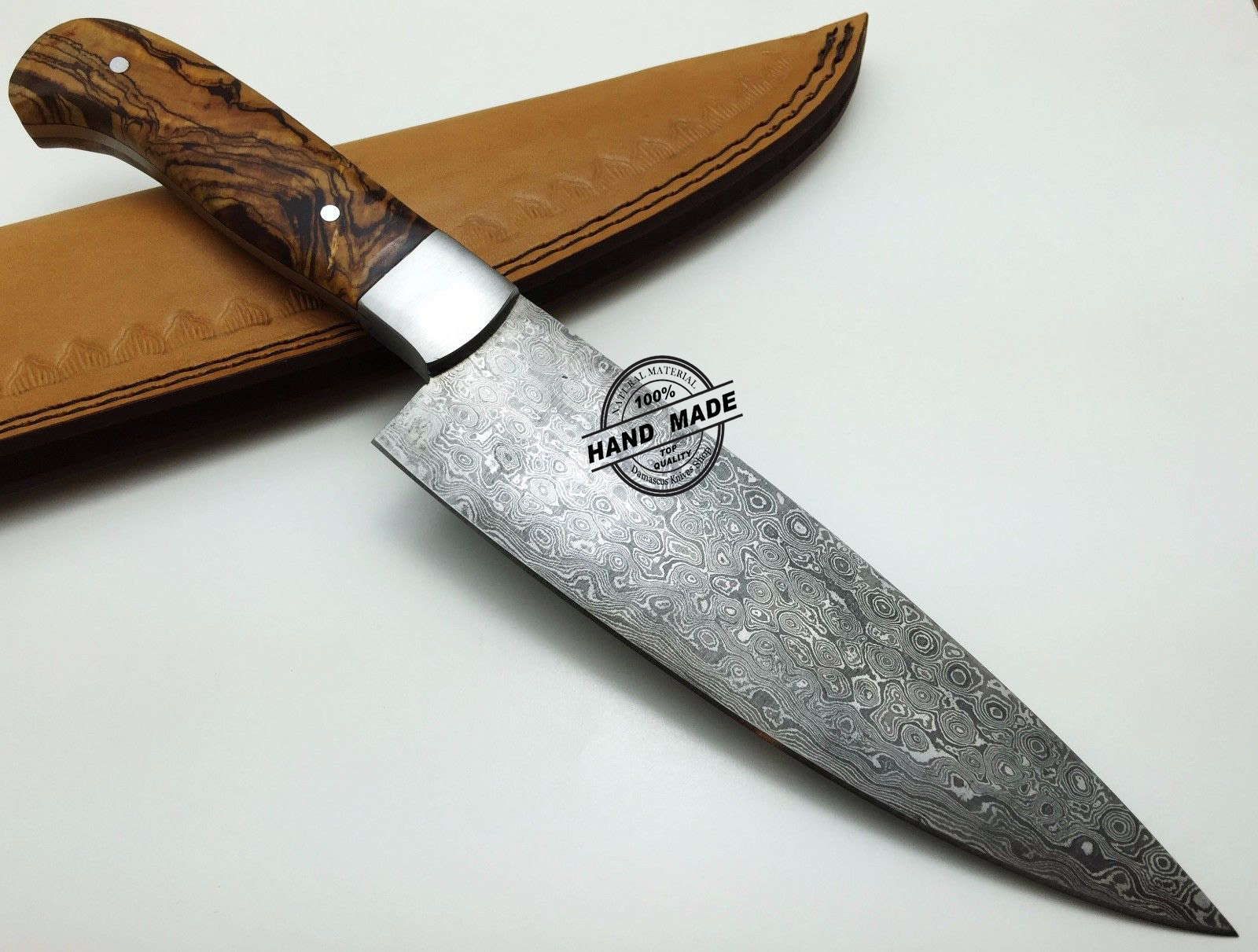 best damascus kitchen knives timers regular knife custom handmade steel4 steel chefs with rose wood handle leather sheaths 1569