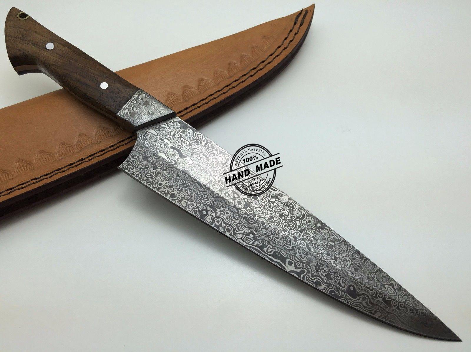 best damascus kitchen knives lacquer cabinets knife custom handmade steel chefs with rose wood handle leather sheaths 1571
