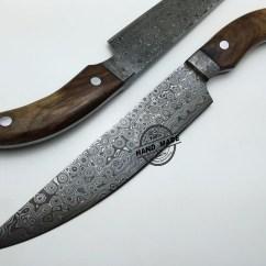 Damascus Steel Kitchen Knife Copper Hoods Custom Handmade