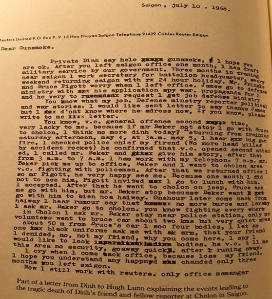Image result for Lá thư Đình viết cho Hugh Lunn bằng Dinglish, chụp lại từ Vietnam: A Reporte's War