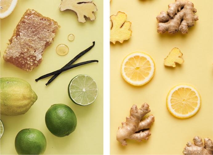 Ingrédients jus de gingembre au miel et au citron