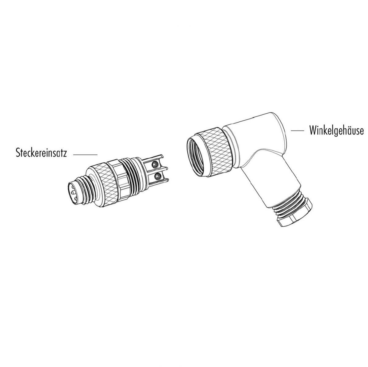 M8 3 Pole Angle Male Connector