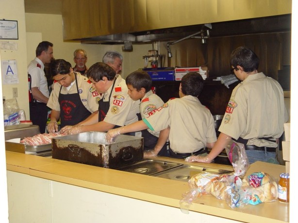 San Bernardino-area members of the Boy Scouts have a history of community service, such as volunteering at a  Salvation Army Thanksgiving dinner. In 2010, they will further assist the Salvation Army by conducting Scouting for Food on Saturday, Nov. 13. This is a nationwide event for the Boy Scouts of America. Donations collected by San Bernardino, Highland, Colton, Rialto and Bloomington Boy Scouts will go to  the San Bernardino Corps of the  Salvation Army's hunger relief efforts. Photo by Ricardo Tombac.