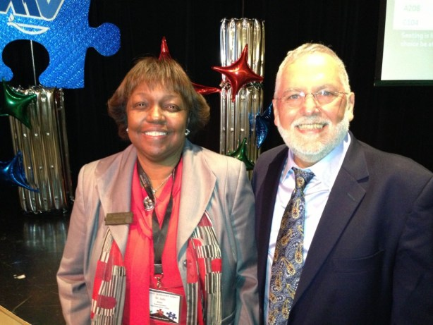 Moreno Valley Unified School District superintendent of schools Dr. Judy White and California CTA state president Dean Vogel at 2013 joint leadership summit.  Vogel spoke well of the direction the district is taking to increase student performance.