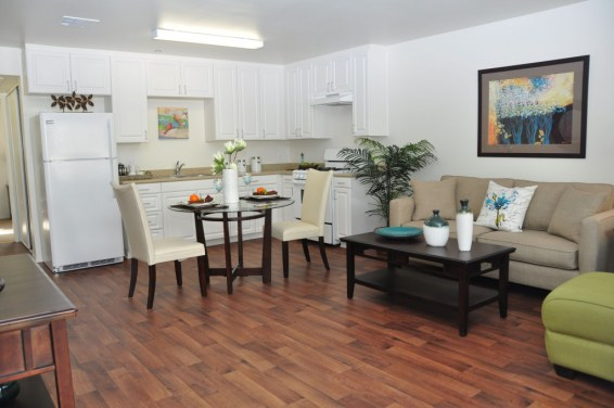"""""""Ten of the senior apartments are two-bedroom units of 777 square feet; the remaining 109 one-bedroom apartments are 542 square feet. The Magnolia at 9th Street offers apartments that are very spacious and complete with upscale appointments."""""""