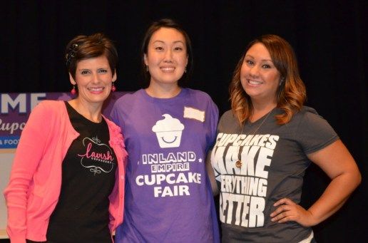 IE Cupcake founder Su Pak with two of the three winners for Best Overall Cupcake and Most Unique Ingredient competition (left to right): Andrea Vasquez - Lavish Cupcakery, Su Pak - IEShineOn.com, Desiree Massei - [desi]gn cakes & cupcakes