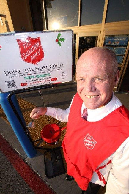 Steve Pinckney has volunteered his time ringing the bells as part of his ministry work with the Salvation Army Corps. Steve is graduate of the Salvation Army's Adult Rehabilitation Center and is participants in the Salvation Army Corps's Path-To-Prosperity program