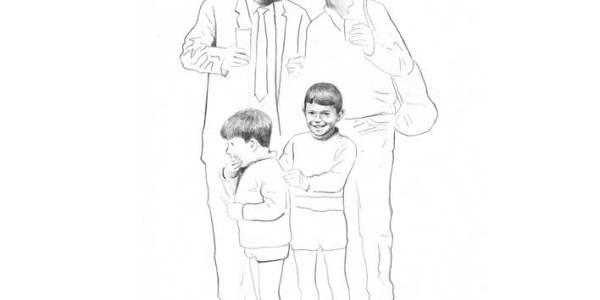 Paco y Damián con sus padres 2003 Lápiz sobre papel 30 x 20 cm