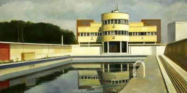 Piscinas La Isla. 2005. Óleo sobre tabla. 55 x 97 cm.