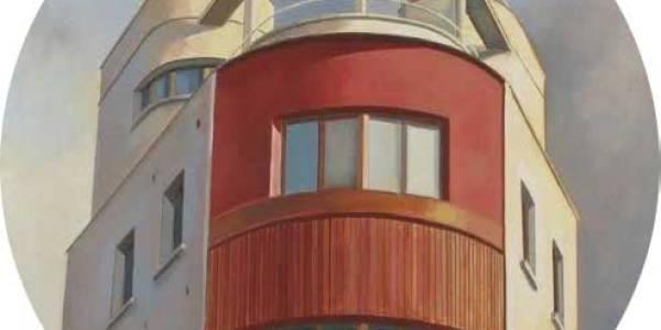 La casa roja. 2008. Óleo sobre tabla. 75 cm diám