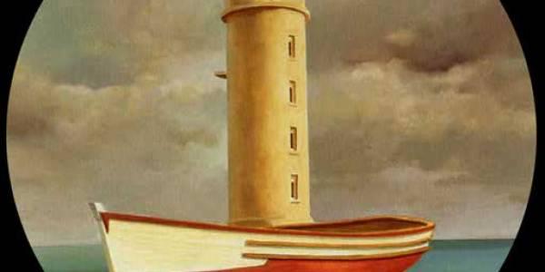 Faro de agua. 2004. Óleo sobre madera. 75 cm diám.