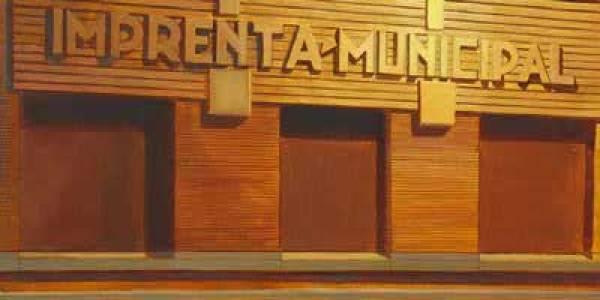Imprenta Municipal. 2008. Óleo/lienzo. 38×54 cm.