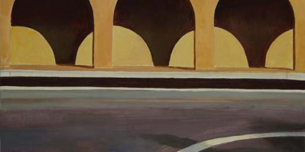 De Chirico en O Grove. Óleo/madera. 30 x 30 cm